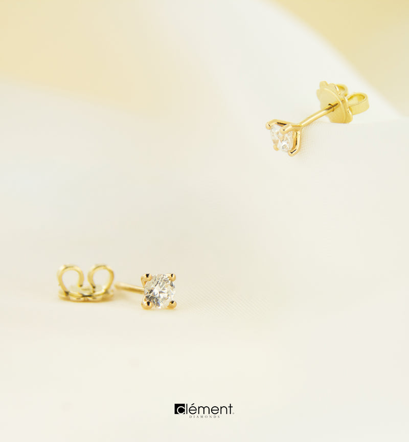 18ct Yellow Gold Natural Diamond Earrings