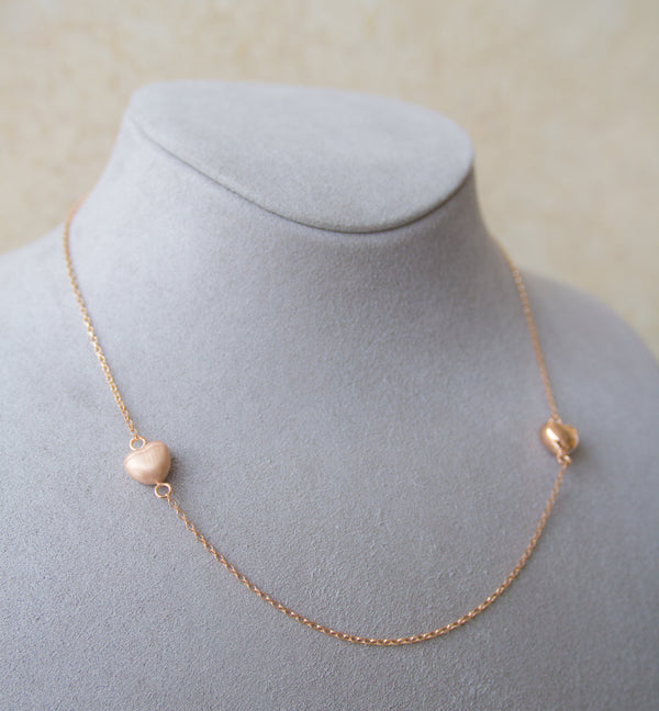 Silver 925 Rose Gold Heart Necklace