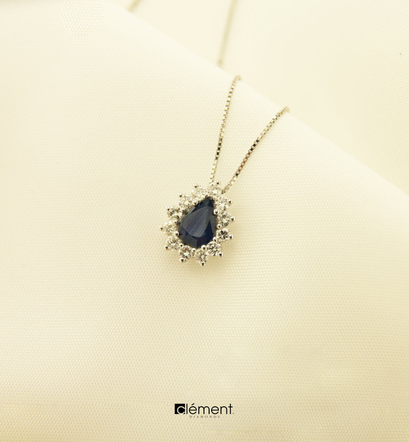 18ct White Gold Natural Blue Sapphire & Diamond Pendant