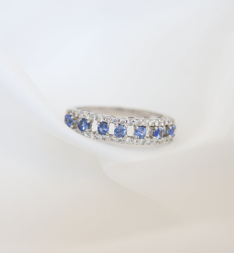 18ct White Gold Diamond & Blue Sapphire Ring