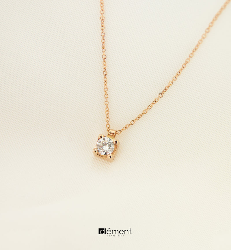 18ct Rose Gold Natural Diamond Solitaire Pendant