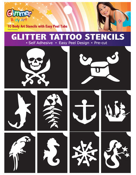 10 Piece Pirates & Mermaids Stencil Pack