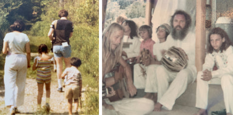 family in nature and ashram drum circle