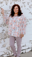 Load image into Gallery viewer, Ivory Floral Bubble Sleeve Top