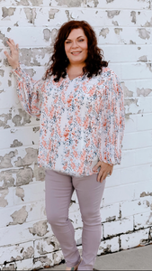 Ivory Floral Bubble Sleeve Top