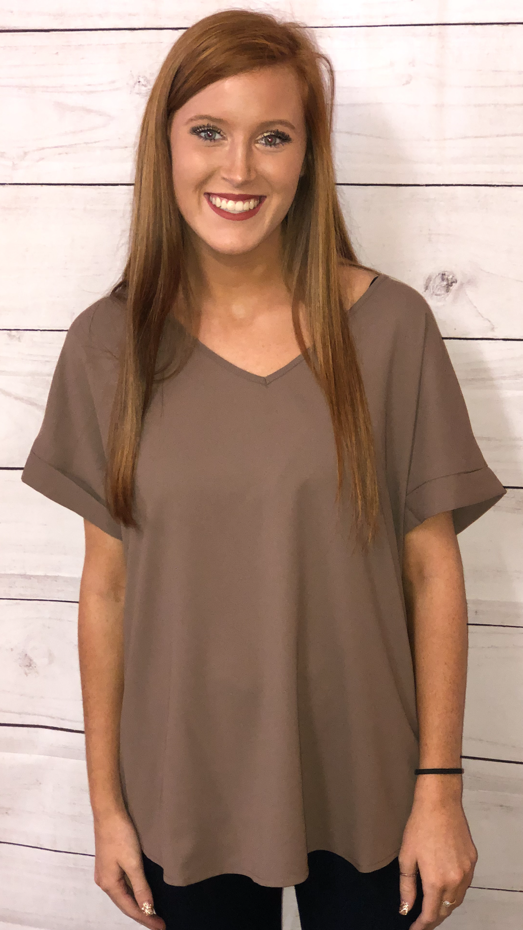 Mocha Sheer V-Neck Top