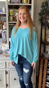 Ash Mint LS V-Neck Top