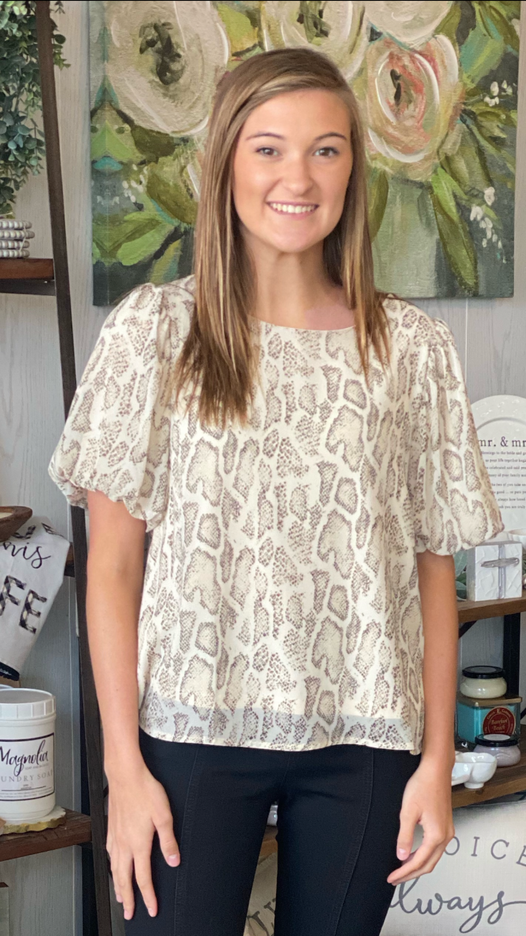 TAUPE SNAKE PUFF SLEEVE TOP