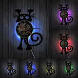 Horloge Chat Accroché LED