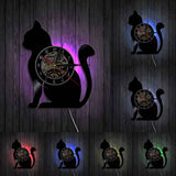 Horloge Chat Assis LED