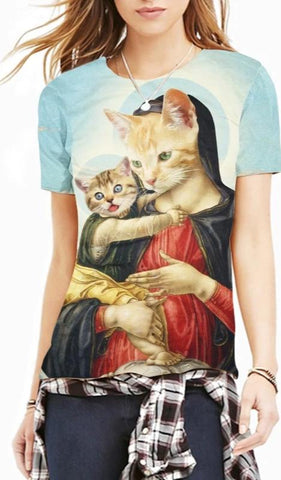 T-Shirt Chat Vierge Marie