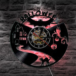 Horloge Chat Halloween LED ROUGE