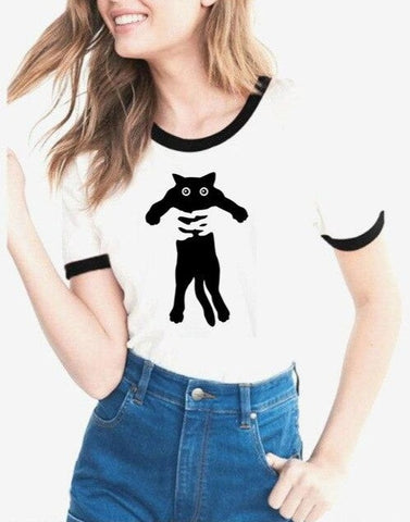 T-Shirt Humour Chat Femme