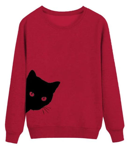 Pull Rouge Chat Noir