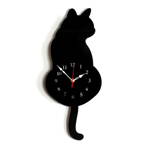 Horloge Chat Queue qui Bouge Noir