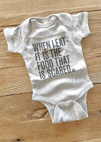 Ron Swanson Quote | Baby Bodysuit | When I Eat It is the food that is scared | www.le-monkeyhouse.com