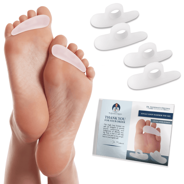 Dr. Frederick's Original Hammer Toe Cushions - 4 Hammertoe Gel Pads - Claw Toe - Temporary Corrector - Great for Diabetic Feet