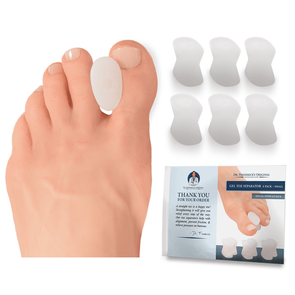 Dr. Frederick's Original Gel Toe Separators -- 6 Pieces - for Bunions and Overlapping Toes
