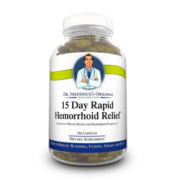 Dr. Frederick's Original Rapid Hemorrhoid Relief -- 180 Fiber Supplement Capsules - for Reducing Flare Ups, Bleeding, Itching, Pain, and Strain