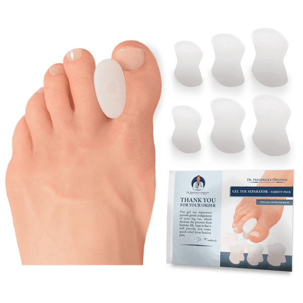 Dr. Frederick's Original Gel Toe Separator Variety Pack -- 6 Pieces - for Bunions and Overlapping Toes