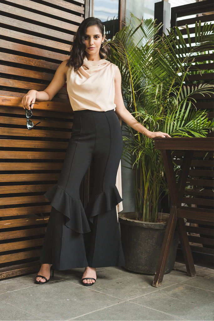 Black High Waisted Tiered Flare Pants