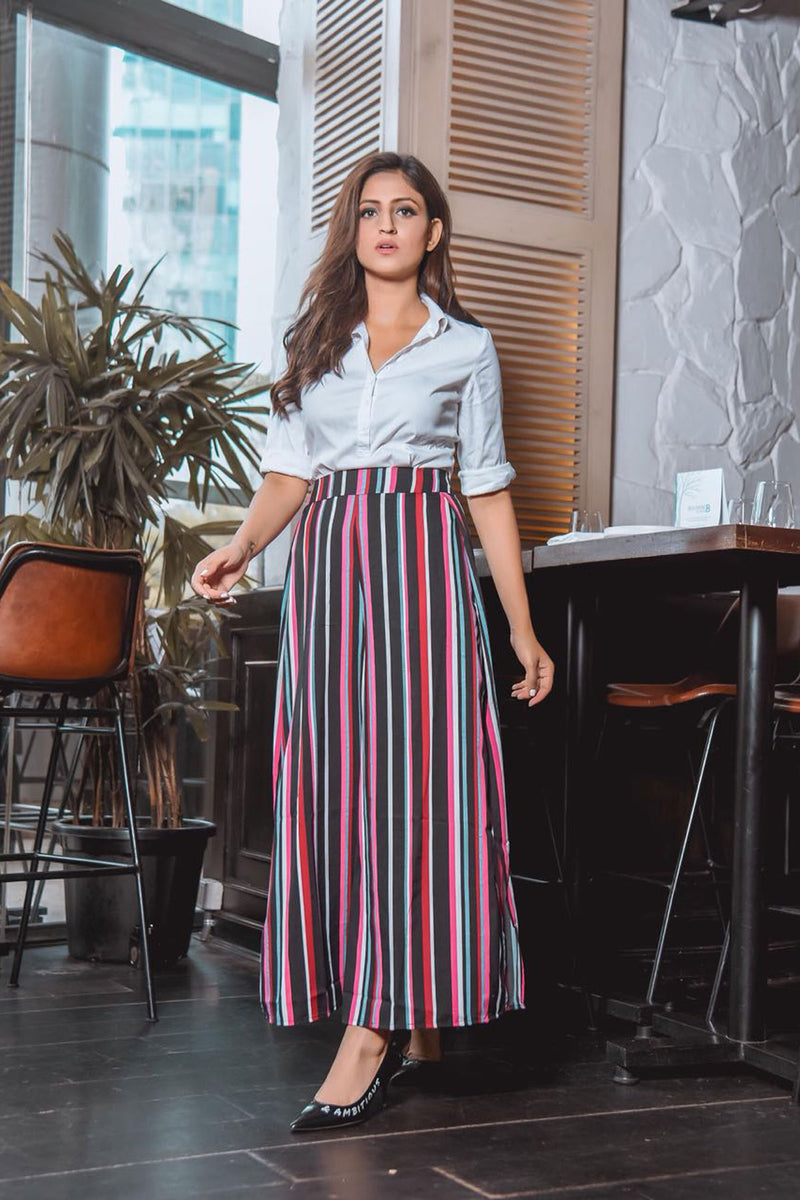 Black & Pink Candy Stripe Wide Leg Pants with Slits - Spotstyl