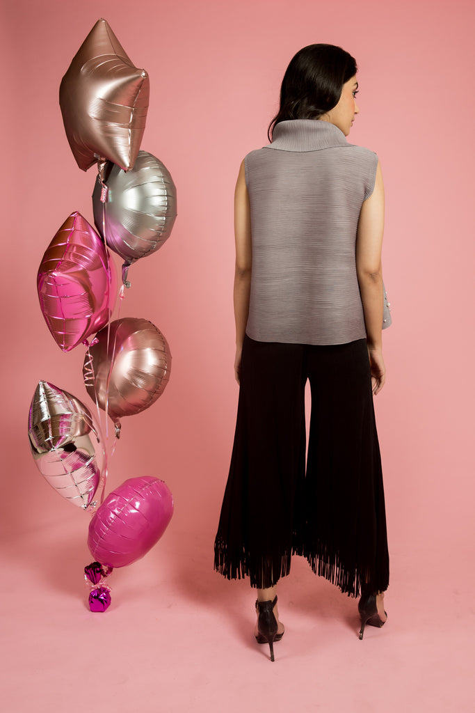 Grey Pleated Top With Pearls