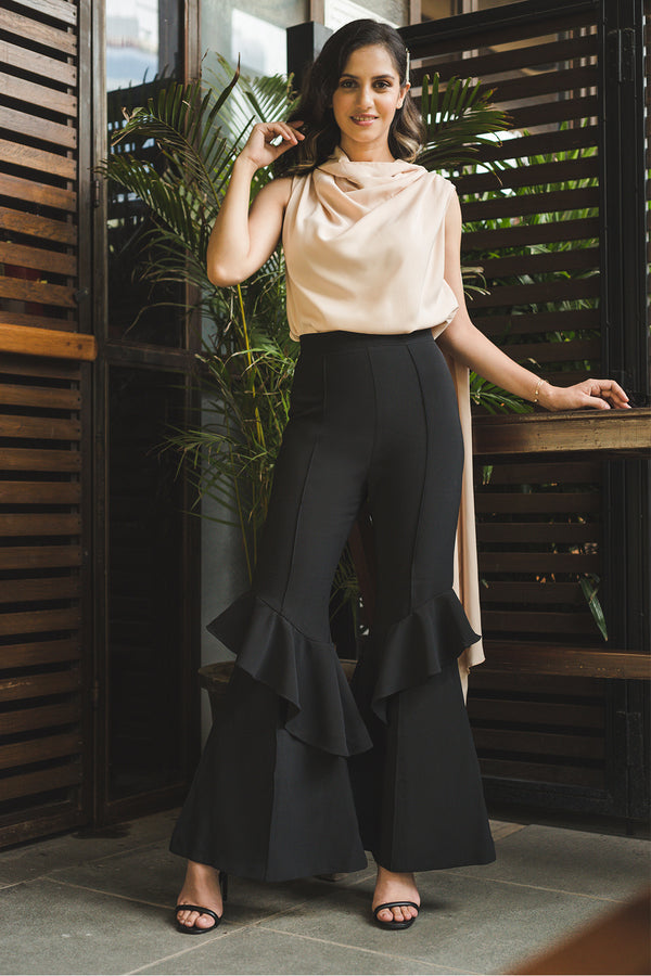 Black High Waisted Tiered Flare Pants - Spotstyl