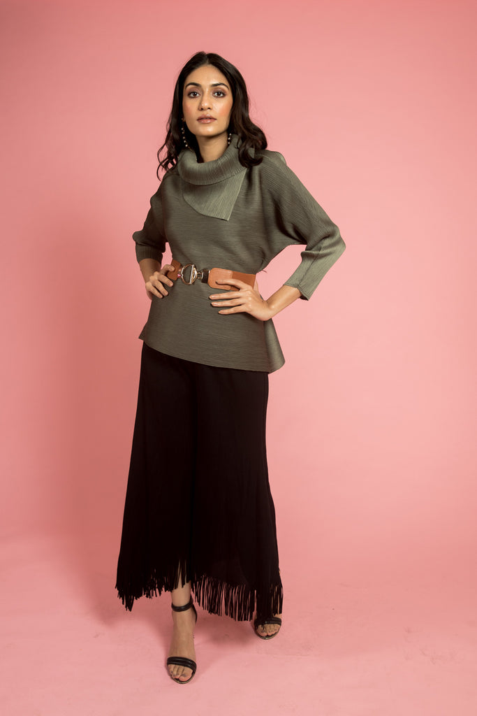Green Pleated Top (FULL-SLEEVES)