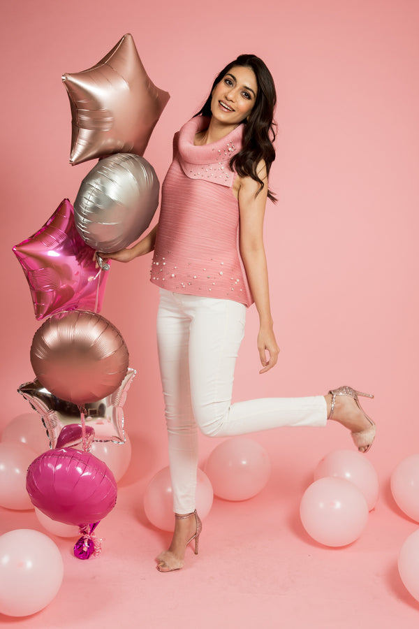 Pink Pleated Top With Pearls - Spotstyl