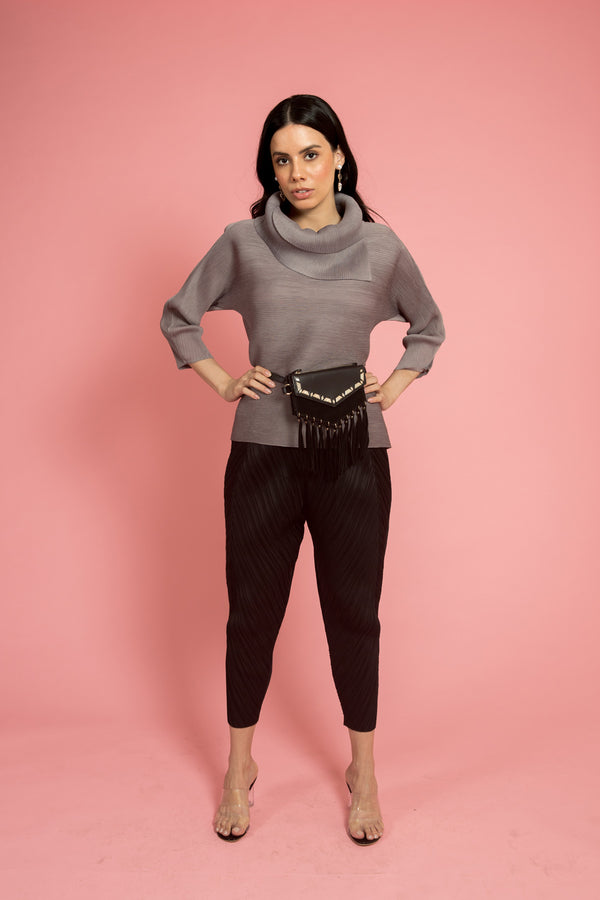 Grey Pleated Top (Full Sleeves) - Spotstyl