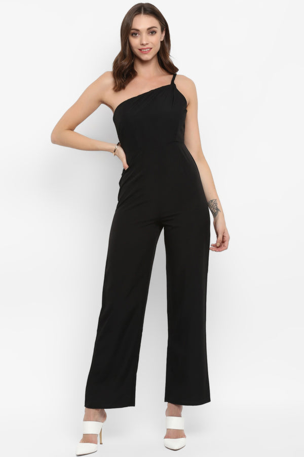 Black Braided Trim One Shoulder Jumpsuit - Spotstyl