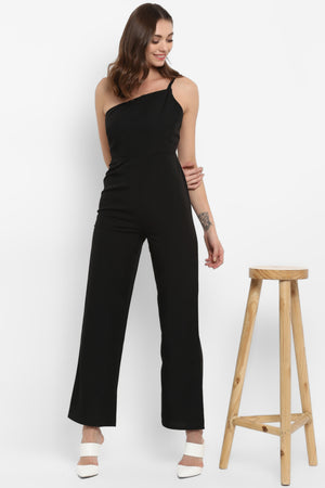 Black Braided Trim One Shoulder Jumpsuit