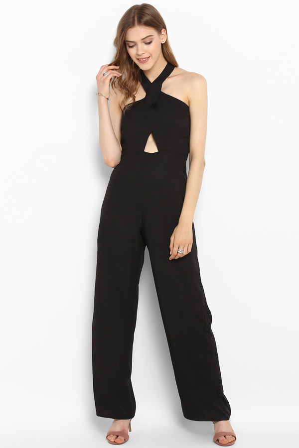 Black Crossover Halter Neck Cutout Jumpsuit - Spotstyl