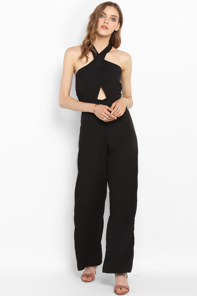 Black Crossover Halter Neck Cutout Jumpsuit