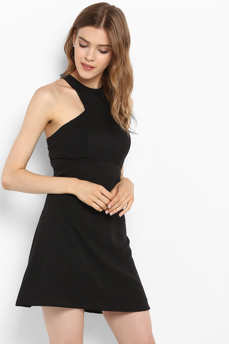 Black Halter Neck Fit & Flare Dress - Spotstyl