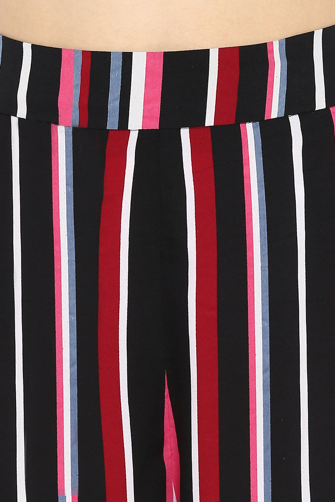 Black & Pink Candy Stripe Wide Leg Pants with Slits