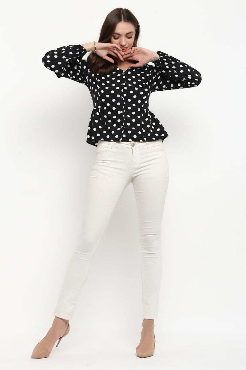 Black Polka Dot Balloon Sleeves Top - Spotstyl