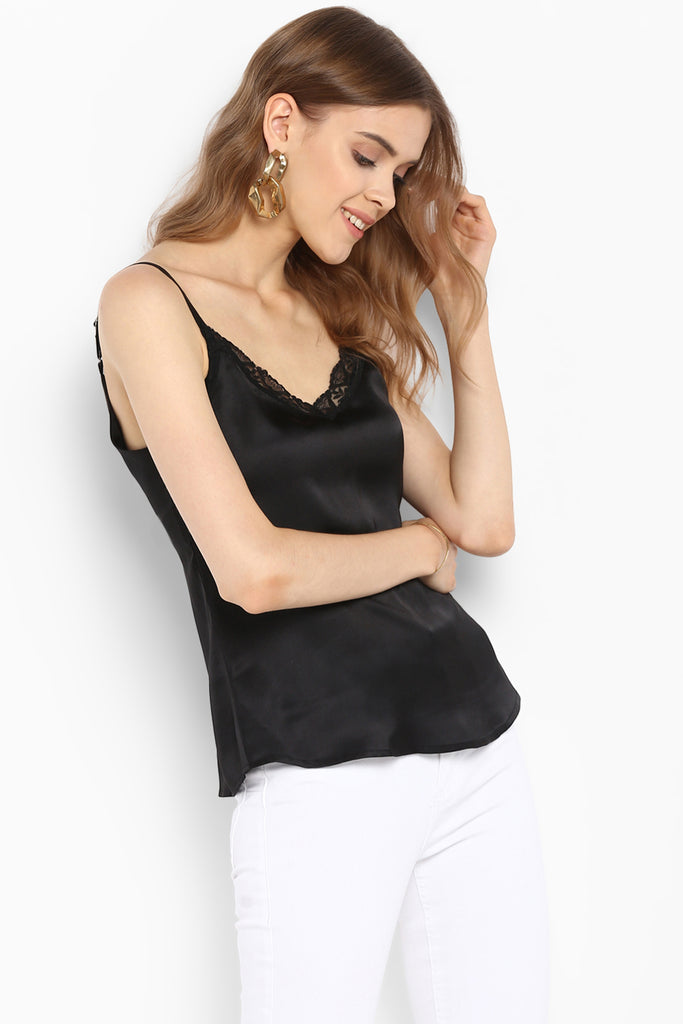 Black Satin Lace Trim Camisole Top