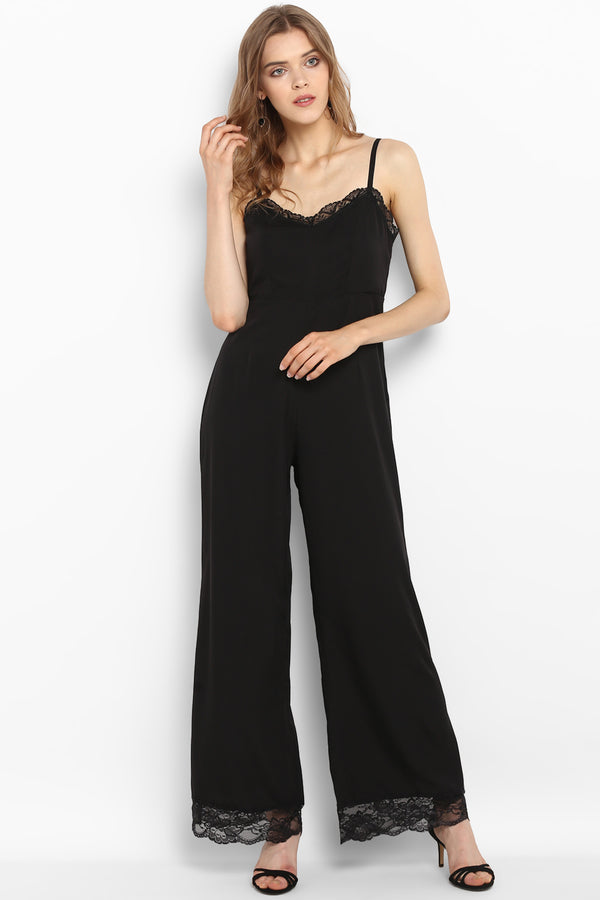 Black Scalloped Lace Trim Jumpsuit - Spotstyl