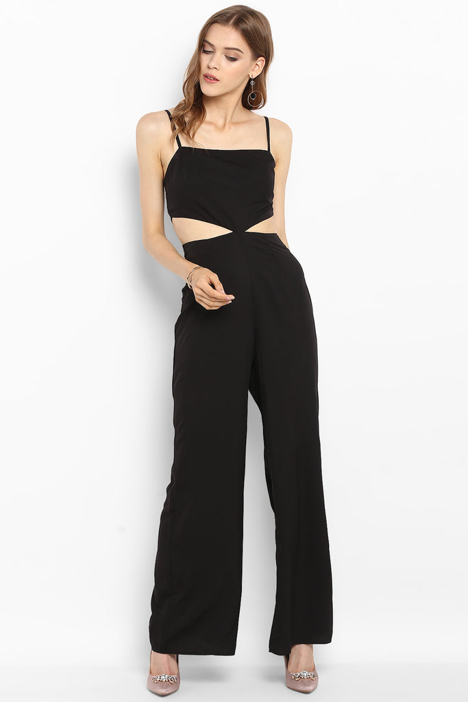 Black Waist Cutout Jumpsuit