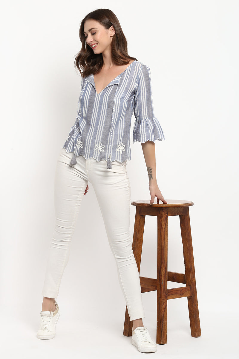 Grey Floral Embroidered Bell Sleeves Top - Spotstyl