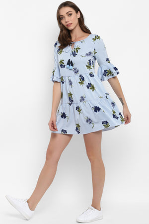 Blue Floral Tiered Dress with Bell Sleeves