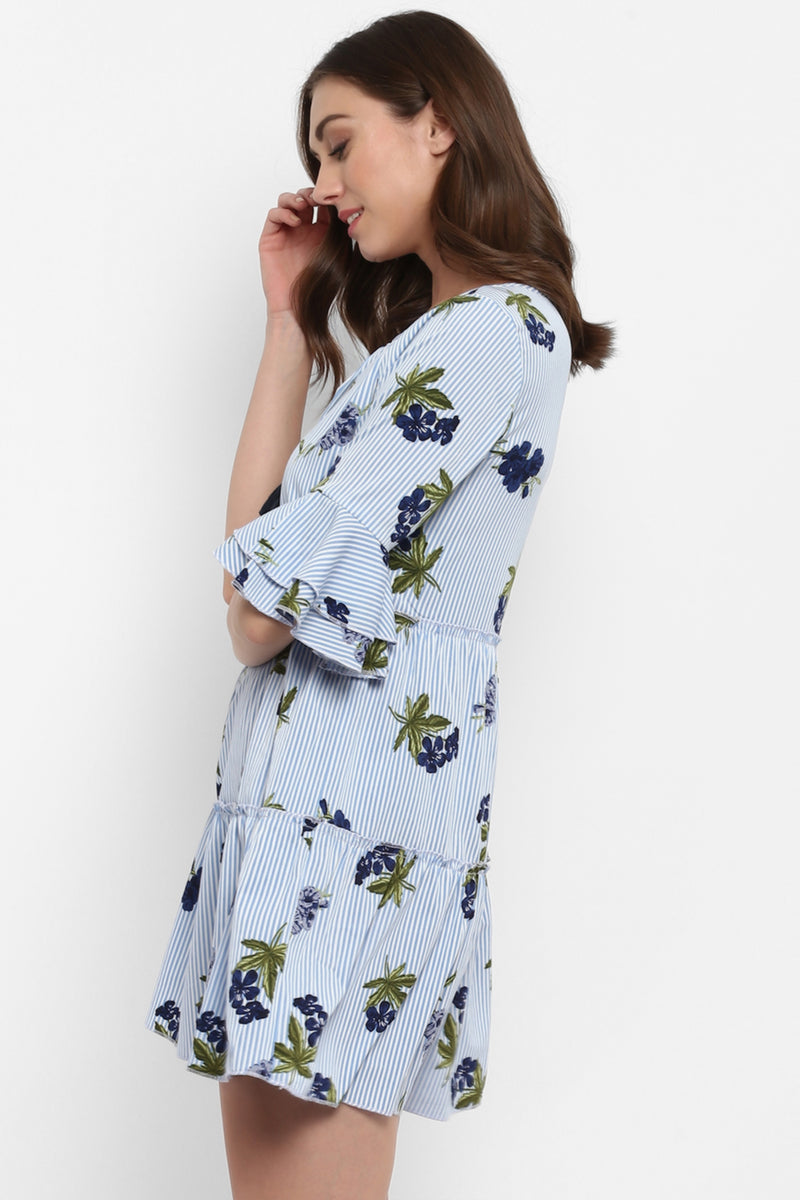 Blue Floral Tiered Dress with Bell Sleeves - Spotstyl