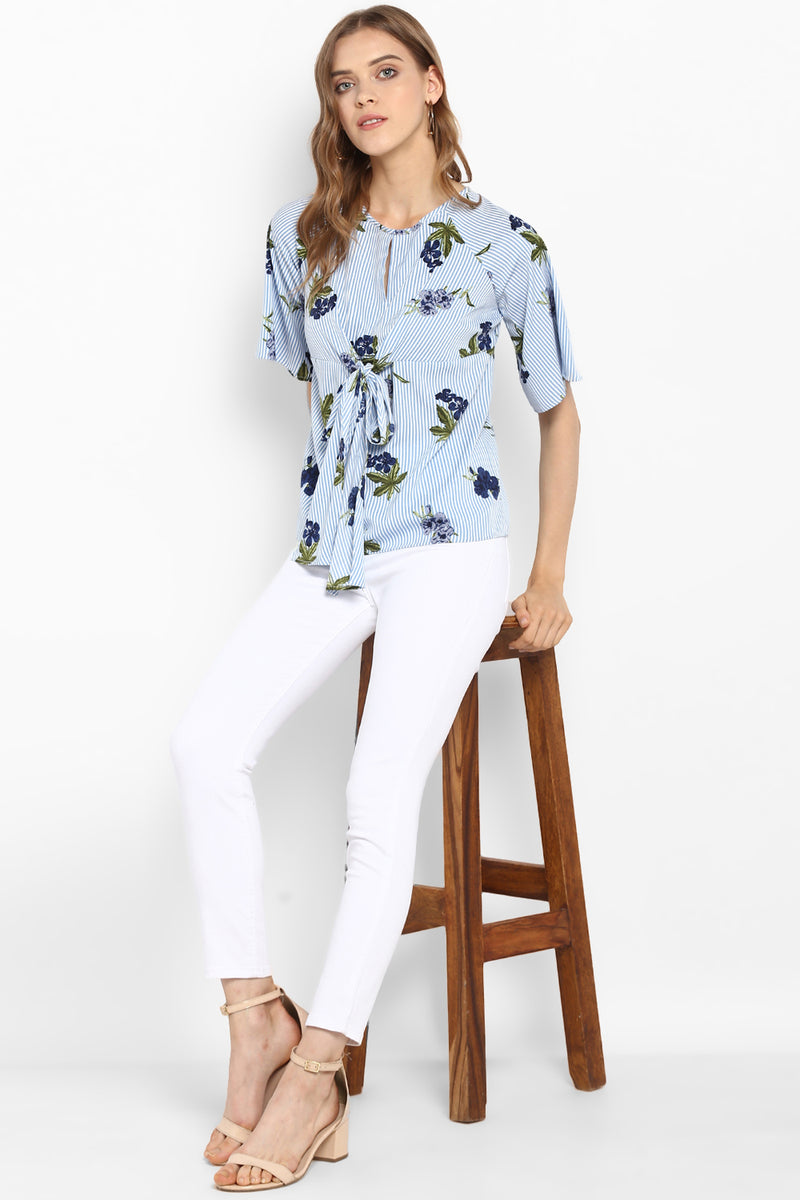 Blue Tie-Front Striped Floral Top - Spotstyl