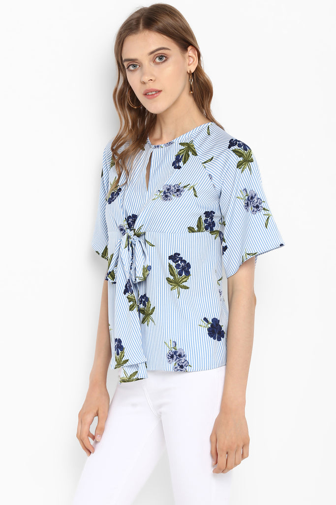 Blue Tie-Front Striped Floral Top
