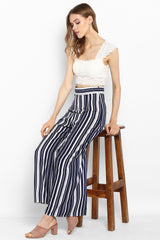 Blue & White Stripe Wide Leg Pants - Spotstyl