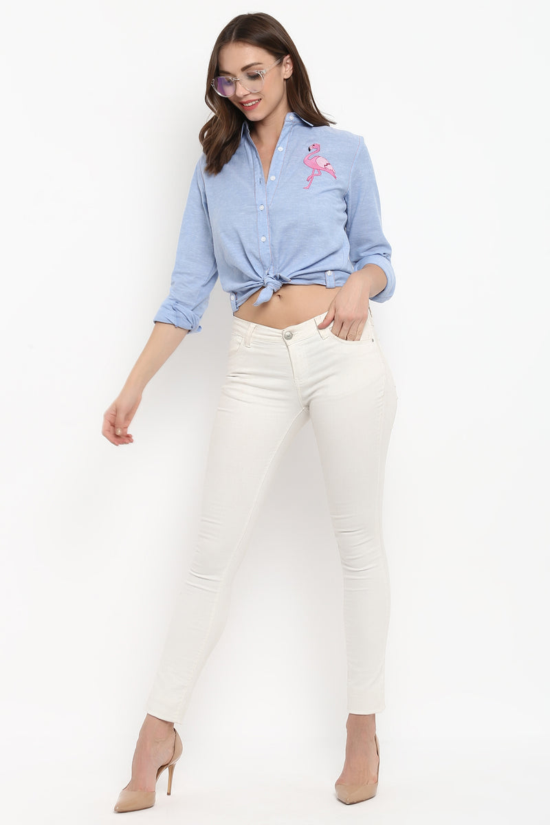 Chambray Flamingo Embroidered Shirt - Spotstyl