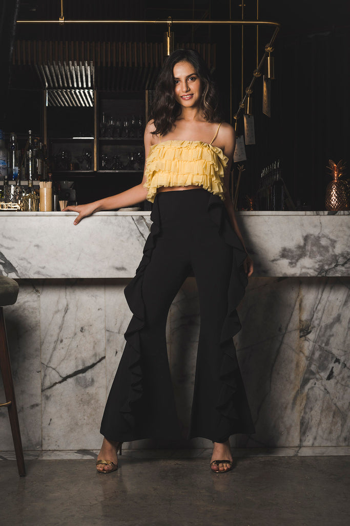 Black High Waist Pants with Side Ruffles