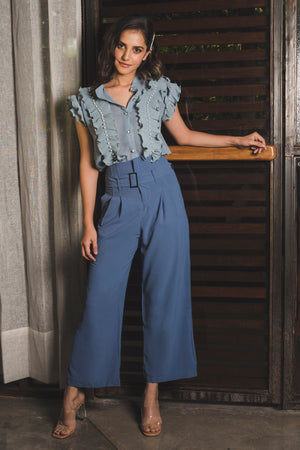 Blue	High Waist Pants with Belt
